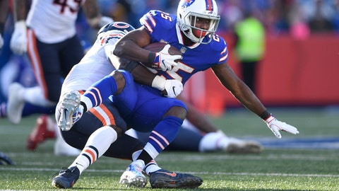 <p>               FILE - In this Sunday, Nov. 4, 2018, file photo, Buffalo Bills running back LeSean McCoy (25) is tackled during the second half of an NFL football game against the Chicago Bears in Orchard Park, N.Y. McCoy has been as invisible on the field as he has been off it in refusing to speak to the media for the past 10 days. It's a sign of his frustrations, as McCoy has yet to score this season and combined for 23 yards rushing on 22 carries in his past two games. (AP Photo/Adrian Kraus, File)             </p>