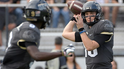 "<p>               FILE - In this Nov. 10, 2018, file photo, Central Florida quarterback McKenzie Milton, right, throws a pass to running back Adrian Killins Jr. (9) during the first half of an NCAA college football game against Navy in Orlando, Fla. No. 8 UCF isn't content with having the nation's longest winning streak. The Knights want more. A lot more. The defending American Athletic Conference champions can complete a second consecutive undefeated regular season by beating intrastate rival South Florida on Friday, Nov. 23. ""From where this program's come, it's just getting started,"" Milton said. ""I think we're just scratching the surface and UCF is going to be good for a very, very long time."" (AP Photo/Phelan M. Ebenhack, File)             </p>"