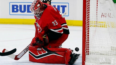 <p>               Carolina Hurricanes goaltender Scott Darling (33) has the puck slip past for a goal by the Columbus Blue Jackets during the first period of an NHL hockey game, Saturday, Nov. 17, 2018, in Raleigh, N.C. (AP Photo/Karl B DeBlaker)             </p>