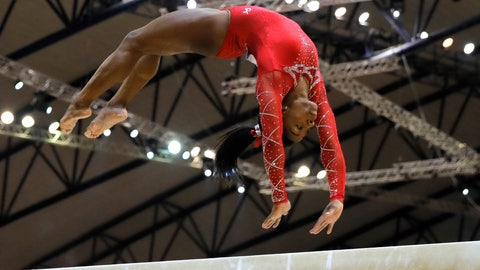 <p>               Bronze medalist Simone Biles of the U.S. performs on the balance beam on the second and last day of the apparatus finals of the Gymnastics World Championships at the Aspire Dome in Doha, Qatar, Saturday, Nov. 3, 2018. (AP Photo/Vadim Ghirda)             </p>