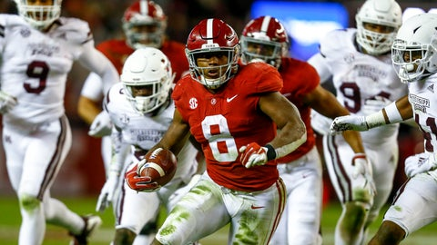 <p>               Alabama running back Josh Jacobs (8) carries the ball during the second half of an NCAA college football game against Mississippi State, Saturday, Nov. 10, 2018, in Tuscaloosa, Ala. (AP Photo/Butch Dill)             </p>