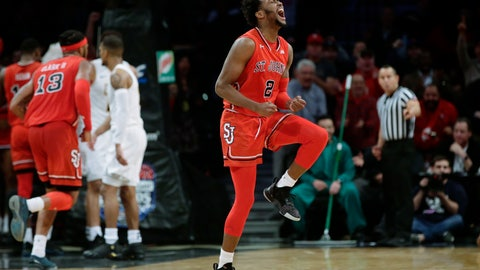 <p>               St. John's Shamorie Ponds (2) celebrates during the overtime period of an NCAA college basketball game against the Virginia Commonwealth in the championship round of the Legends Classic tournament Tuesday, Nov. 20, 2018, in New York. St. John's won 87-86. (AP Photo/Frank Franklin II)             </p>