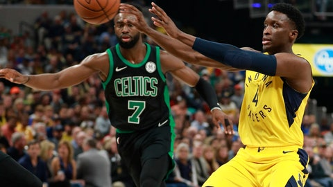 <p>               Indiana Pacers guard Victor Oladipo, right, passes the basketball defended by Boston Celtics guard Jaylen Brown during an NBA basketball game, Saturday, Nov. 3, 2018, in Indianapolis. (AP Photo/R Brent Smith)             </p>