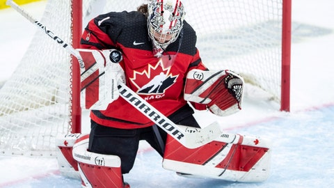 <p>               Canada goaltender Shannon Szabados stops a U.S. shot during the first period of a Four Nations Cup hockey preliminary game in Saskatoon, Saskatchewan, Wednesday, Nov. 7, 2018. (Liam Richards/The Canadian Press via AP)             </p>