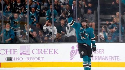 <p>               San Jose Sharks defenseman Erik Karlsson (65) celebrates after scoring a goal against the St. Louis Blues during the second period of an NHL hockey game in San Jose, Calif., Saturday, Nov. 17, 2018. (AP Photo/Tony Avelar)             </p>