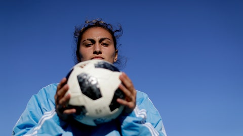 """<p>               In this Nov. 1, 2018 photo, Argentina national female soccer player Luana Munoz poses for a photo at the Argentina Football Association, after a training session in Buenos Aires, Argentina. """"Women are not accepted in this environment yet. That's why there's so much resistance to broadcasting female sports, especially soccer,"""" said 19-year-old wingback. (AP Photo/Natacha Pisarenko)             </p>"""