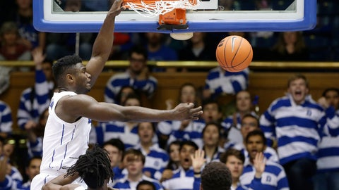 <p>               Duke's Zion Williamson dunks against Eastern Michigan during the first half of an NCAA college basketball game in Durham, N.C., Wednesday, Nov. 14, 2018. (AP Photo/Gerry Broome)             </p>