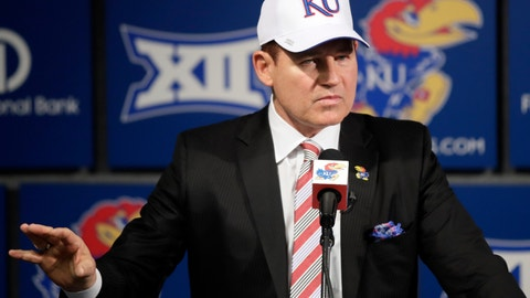 <p>               University of Kansas new football coach Les Miles makes a statement during a news conference in Lawrence, Kan., Sunday, Nov. 18, 2018. (AP Photo/Orlin Wagner)             </p>