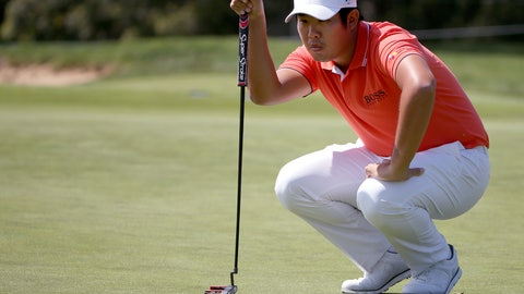 <p>               Byeong Hun An of South Korea lines up his putt on the first green during the Australian Open Golf tournament in Sydney, Thursday, Nov. 15, 2018. (AP Photo/Rick Rycroft)             </p>