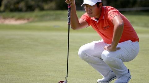 <p>               Byeong Hun An of South Korea lines up his putt on the first green during the Australian Open Golf tournament in Sydney, Thursday, Nov. 15, 2018. (AP Photo/Rick Rycroft)             </p>