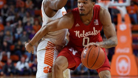 <p>               Nebraska's James Palmer Jr. dribbles while defended by Clemson's Clyde Trapp during the first half of an NCAA college basketball game Monday, Nov. 26, 2018, in Clemson, S.C. (AP Photo/Richard Shiro)             </p>