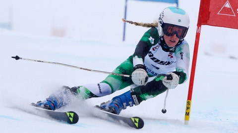 <p>               FILE - In this March 27, 2017, file photo, Foreste Peterson carves a turn on her first run at the women's giant slalom ski race at the U.S. Alpine Ski Championships at Sugarloaf Mountain Resort in Carrabassett Valley, Maine. Peterson thought her ski racing career was over as she finished her senior season at Dartmouth last winter. Out of the blue, the former U.S. ski team member received an offer almost too good to be true: Free housing, travel and coaching to keep her on the slopes. She's a member of Team X, an all-female development ski team based in Park City, Utah. The team currently backs four athletes from four different countries including Peterson, who recently earned a spot in a World Cup giant slalom race this weekend in Killington, Vt. (AP Photo/Charles Krupa, File)             </p>