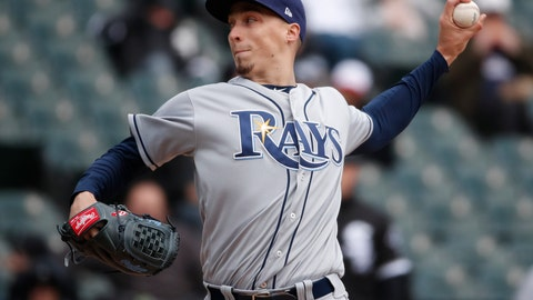 <p>               FILE - In this April 10, 2018, file photo, Tampa Bay Rays starting pitcher Blake Snell delivers during the third inning of a baseball game against the Chicago White Sox in Chicago. Snell was announced as the winner of the American League Cy Young Award on Wednesday, Nov. 14, 2018. (AP Photo/Jeff Haynes, File)             </p>