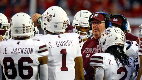 <p>               Mississippi State head coach Joe Moorhead talks with players in a timeout during the second half of an NCAA college football game against Alabama, Saturday, Nov. 10, 2018, in Tuscaloosa, Ala. (AP Photo/Butch Dill)             </p>