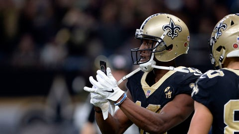 <p>               New Orleans Saints wide receiver Michael Thomas (13) pulls out a cell phone after his 72 yard touchdown reception in the second half of an NFL football game against the Los Angeles Rams in New Orleans, Sunday, Nov. 4, 2018. (AP Photo/Bill Feig)             </p>