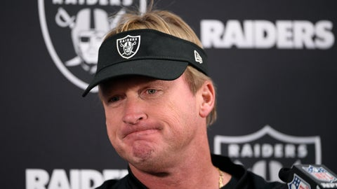 <p>               FILE - In this Sunday, Nov. 25, 2018, file photo, Oakland Raiders head coach Jon Gruden speaks at a news conference after an NFL football game against the Baltimore Ravens in Baltimore. The Raiders were unable to build off their second win of the season and are now assured of a losing record in Gruden's first season back as coach. (AP Photo/Nick Wass, File)             </p>