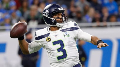 <p>               Seattle Seahawks quarterback Russell Wilson prepares to throw during the first half of an NFL football game against the Detroit Lions, Sunday, Oct. 28, 2018, in Detroit. (AP Photo/Paul Sancya)             </p>