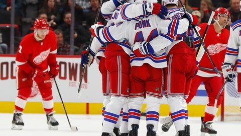 <p>               New York Rangers' Neal Pionk (44) celebrates his goal against the Detroit Red Wings in the second period of an NHL hockey game in Detroit, Friday, Nov. 9, 2018. (AP Photo/Paul Sancya)             </p>