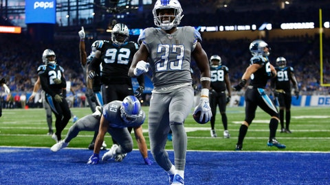 <p>               Detroit Lions running back Kerryon Johnson (33) rushes for an 8-yard touchdown during the first half of an NFL football game against the Carolina Panthers, Sunday, Nov. 18, 2018, in Detroit. (AP Photo/Duane Burleson)             </p>