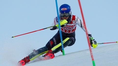 <p>               United States's Mikaela Shiffrin competes during the first run of an alpine ski, women's World Cup slalom, in Levi, Finland, Saturday, Nov. 17, 2018. (AP Photo/Gabriele Facciotti)             </p>