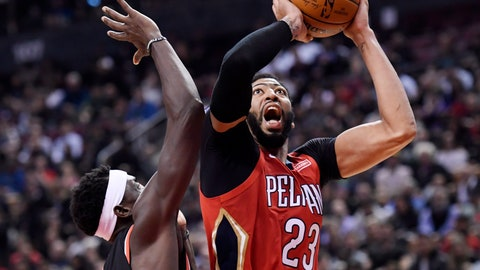 <p>               New Orleans Pelicans forward Anthony Davis (23) shoots over Toronto Raptors forward Pascal Siakam (43) during second half NBA basketball action in Toronto on Monday, Nov. 12, 2018. (Nathan Denette/The Canadian Press via AP)             </p>