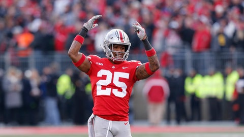 <p>               Ohio State defensive back Brendon White celebrates after making a tackle against Michigan during the second half of an NCAA college football game Saturday, Nov. 24, 2018, in Columbus, Ohio. Ohio State beat Michigan 62-39. (AP Photo/Jay LaPrete)             </p>