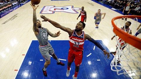 <p>               Philadelphia 76ers' Wilson Chandler (22) goes up to shoot against Washington Wizards' Jeff Green (32) during the first half of an NBA basketball game, Friday, Nov. 30, 2018, in Philadelphia. (AP Photo/Matt Slocum)             </p>