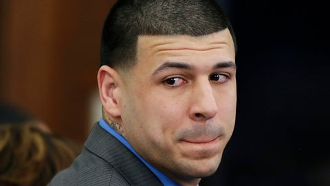 <p>               FILE - In this Friday, April 14, 2017, file photo, former New England Patriots tight end Aaron Hernandez turns to look in the direction of the jury as he reacts to his double murder acquittal in the 2012 deaths of Daniel de Abreu and Safiro Furtado, at Suffolk Superior Court in Boston. On Thursday, Nov. 8, 2018, Massachusetts' Supreme Judicial Court will consider whether the state should get rid of the centuries-old legal principle that erased Hernandez's murder conviction after he killed himself in prison. (AP Photo/Stephan Savoia, Pool, File)             </p>