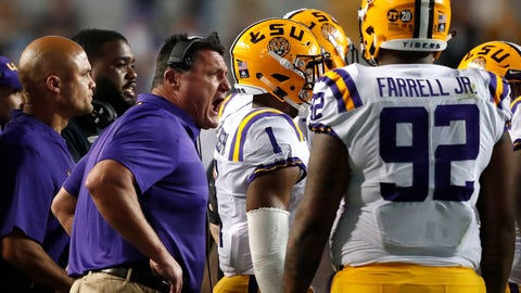 <p>               LSU head coach Ed Orgeron talks to his team during a timeout in the second half of an NCAA college football game against Alabama in Baton Rouge, La., Saturday, Nov. 3, 2018. Alabama won 29-0. (AP Photo/Gerald Herbert)             </p>
