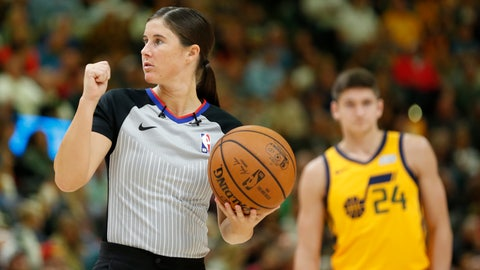<p>               FILE - In this Oct. 22, 2018, file photo, referee Natalie Sago works during the second half of an NBA basketball game against the Memphis Grizzlies and Utah Jazz in Salt Lake City. Ashley Moyer-Gleich and Natalie Sago are among five officials who were promoted Thursday by the NBA to full-time status, making them the fourth and fifth women in league history to have that designation. (AP Photo/Rick Bowmer, File)             </p>