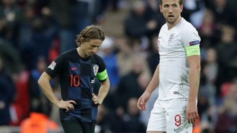 <p>               England's Harry Kane walks next to Croatia's Luka Modric, left, after scoring his side's second goal during the UEFA Nations League soccer match between England and Croatia at Wembley stadium in London, Sunday, Nov. 18, 2018. (AP Photo/Matt Dunham)             </p>