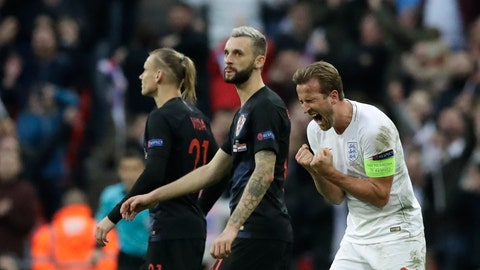 <p>               England's Harry Kane celebrates scoring his side's second goal during the UEFA Nations League soccer match between England and Croatia at Wembley stadium in London, Sunday, Nov. 18, 2018. (AP Photo/Matt Dunham)             </p>