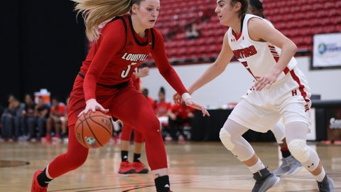 <p>               Louisville's Sam Fuehring, left, drives to the basket against Hartford's Lindsey Abed during the second half of an NCAA college basketball game Saturday, Nov. 24, 2018, in Las Vegas. (AP Photo/Chase Stevens)             </p>