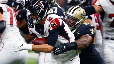 <p>               New Orleans Saints defensive tackle Sheldon Rankins (98) tries to sack Atlanta Falcons quarterback Matt Ryan (2) in the first half of an NFL football game in New Orleans, Thursday, Nov. 22, 2018. (AP Photo/Butch Dill)             </p>