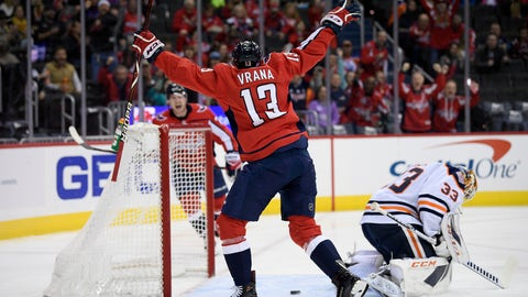 <p>               Washington Capitals left wing Jakub Vrana (13), of the Czech Republic, celebrates his goal against Edmonton Oilers goaltender Cam Talbot (33) during the first period of an NHL hockey game, Monday, Nov. 5, 2018, in Washington. (AP Photo/Nick Wass)             </p>