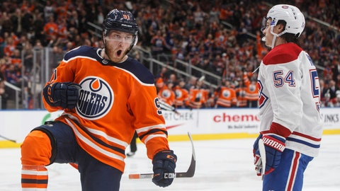 <p>               Montreal Canadiens' Charles Hudon (54) skates past as Edmonton Oilers' Drake Caggiula (91) celebrates a goal during the second period of an NHL hockey game, Tuesday, Nov. 13, 2018 in Edmonton, Alberta. (Jason Franson/The Canadian Press via AP)             </p>