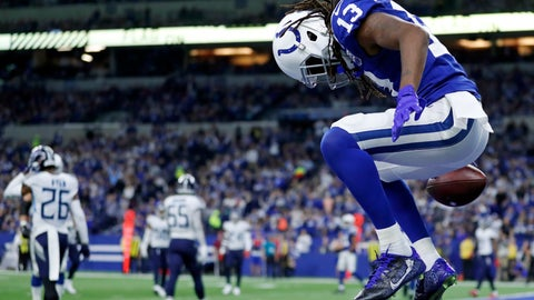 <p>               Indianapolis Colts' T.Y. Hilton (13) reacts after a touchdown reception during the second half of an NFL football game against the Tennessee Titans, Sunday, Nov. 18, 2018, in Indianapolis. (AP Photo/Jeff Roberson)             </p>