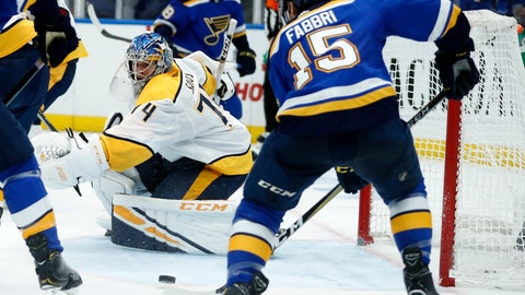 <p>               St. Louis Blues' Robby Fabbri (15) scores past Nashville Predators goaltender Juuse Saros, of Finland, during the second period of an NHL hockey game Friday, Nov. 23, 2018, in St. Louis. (AP Photo/Jeff Roberson)             </p>