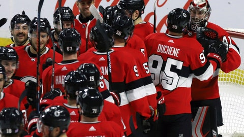 <p>               Ottawa Senators goaltender Craig Anderson (41) celebrates a shutout win with teammates after defeating the New York Rangers in NHL hockey game action in Ottawa, Ontario, Thursday, Nov. 29, 2018. (Fred Chartrand/The Canadian Press via AP)             </p>