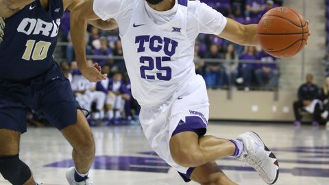 <p>               Oral Roberts guard Sam Kearns (10) tries to defend against the drive by TCU guard Alex Robinson (25) in the first half an NCAA college basketball game Sunday, Nov. 11, 2018, in Dallas. (AP Photo/Richard W. Rodriguez)             </p>