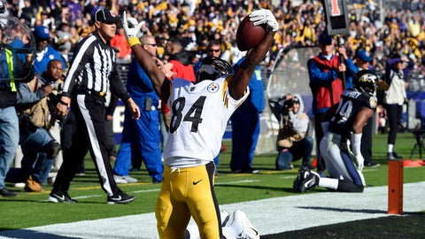 <p>               Pittsburgh Steelers wide receiver Antonio Brown celebrates after scoring a touchdown in the first half of an NFL football game against the Baltimore Ravens, Sunday, Nov. 4, 2018, in Baltimore. (AP Photo/Gail Burton)             </p>
