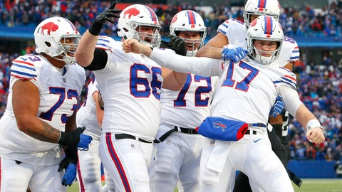<p>               Buffalo Bills quarterback Josh Allen (17) reacts as teammates celebrate his touchdown run against the Jacksonville Jaguars during the second half of an NFL football game, Sunday, Nov. 25, 2018, in Orchard Park, N.Y. (AP Photo/Jeffrey T. Barnes)             </p>