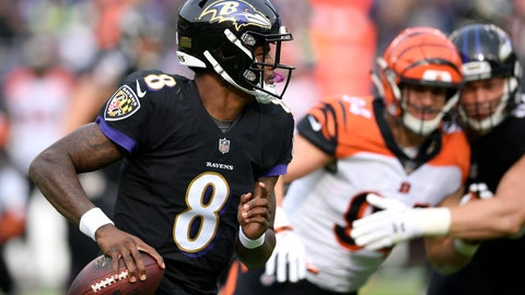 <p>               FILE- In this Nov. 18, 2018, file photo Baltimore Ravens quarterback Lamar Jackson (8) looks for a receiver in the first half of an NFL football game against the Cincinnati Bengals in Baltimore. Understanding that 27 carries a game is way too dangerous for an NFL quarterback, Jackson may do things differently in his second NFL start Sunday, Nov. 25. (AP Photo/Nick Wass, File)             </p>