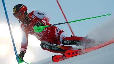 <p>               Austria's Marcel Hirscher competes during the first run of an alpine ski, men's World Cup slalom, in Levi, Finland, Sunday, Nov. 18, 2018. (AP Photo/Gabriele Facciotti)             </p>