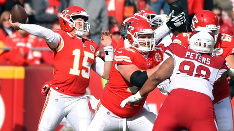 <p>               Kansas City Chiefs quarterback Patrick Mahomes (15) throws a pass during the first half of an NFL football game against the Arizona Cardinals in Kansas City, Mo., Sunday, Nov. 11, 2018. (AP Photo/Ed Zurga)             </p>