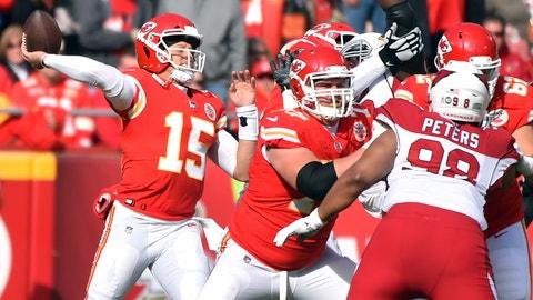 <p>               Kansas City Chiefs quarterback Patrick Mahomes (15) throws a pass during the first half of an NFL football game against the Arizona Cardinals in Kansas City, Mo., Sunday, Nov. 11, 2018. (AP Photo/Ed Zurga)             </p>