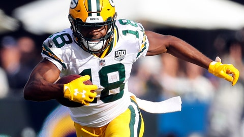<p>               FILE - In this Oct. 28, 2018, file photo, Green Bay Packers wide receiver Randall Cobb (18) runs with the ball after making a reception in the second half of an NFL football game against the Los Angeles Rams in Los Angeles. The injured Packers receiver says that there is a pretty good chance that he'll play on Sunday against the Arizona Cardinals after missing a few weeks with a lingering hamstring injury. (AP Photo/Peter Joneleit, File)             </p>
