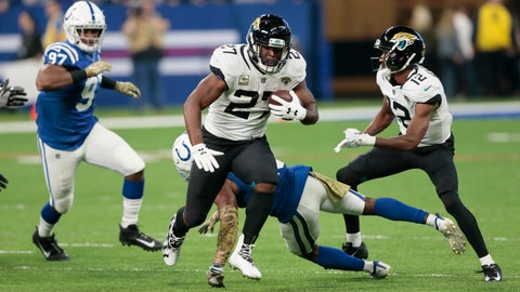 "<p>               FILE - In this Nov. 11, 2018, file photo, Jacksonville Jaguars running back Leonard Fournette (27) runs against the Indianapolis Colts during the first half of an NFL football game in Indianapolis. The Steelers are soaring. After a sluggish start, they have won five straight game, including a 52-21 victory a week ago Thursday against the Carolina Panthers when Ben Roethlisberger had a perfect quarterbacking rating for the first time in nearly 11 years. ""They're going to come in with a chip on their shoulder,"" Fournette said. (AP Photo/AJ Mast, File)             </p>"