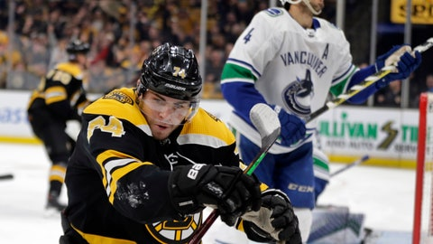 <p>               Boston Bruins left wing Jake DeBrusk (74) celebrates his goal as Vancouver Canucks defenseman Michael Del Zotto (4) reacts during the second period of an NHL hockey game Thursday, Nov. 8, 2018, in Boston. (AP Photo/Elise Amendola)             </p>