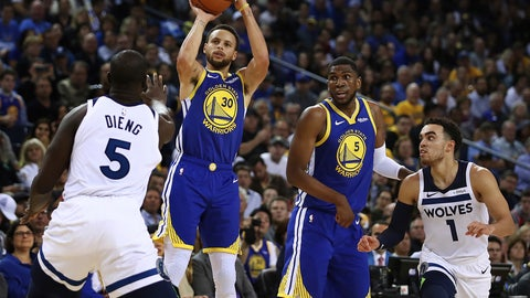 <p>               Golden State Warriors' Stephen Curry (30) shoots over Minnesota Timberwolves' Gorgui Dieng (5) during the second half of an NBA basketball game Friday, Nov. 2, 2018, in Oakland, Calif. (AP Photo/Ben Margot)             </p>